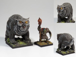 Gurk the Brave is training is pet owl-bear using a dwarf kebab as a treat :-)