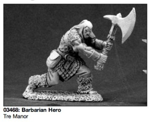 Barbarian Hero, a very nice 28mm mini by Reaper Miniatures.