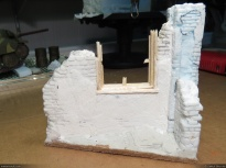 Ruined house (back), made of blue foam, foamcore board, balsa and sparkle.