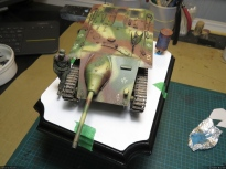 The main elements of the diorama are placed on the paper. to visualse the composition.
